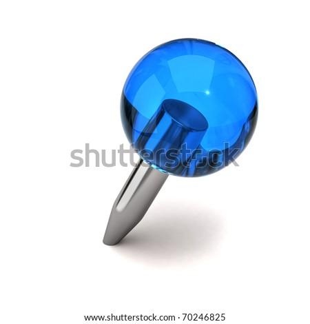 Blue thumbtack - stock photo