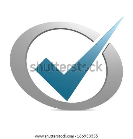 Blue tick in circle - stock photo