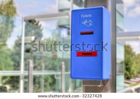 blue ticket validator (closeup) - stock photo