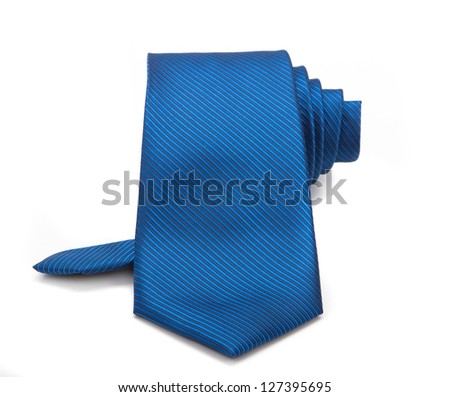 blue tie isolated - stock photo