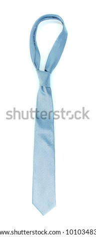 Blue tie on wooden hanger isolated on white - stock photo