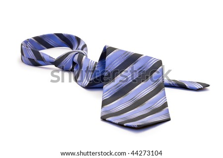 Blue tie, white background isolated. - stock photo