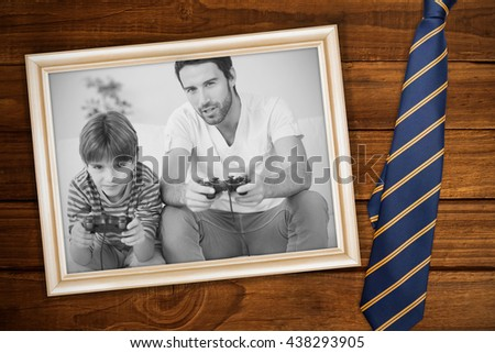 blue tie with diagonal line against white background with vignette - stock photo