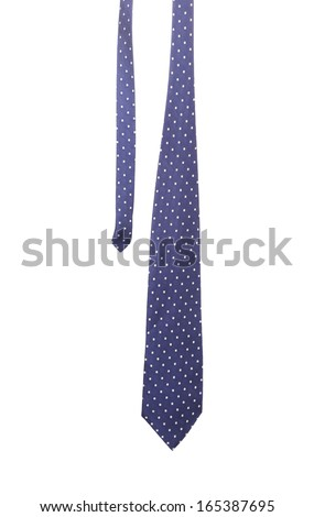 Blue tie with white speck. Isolated on a white background. - stock photo