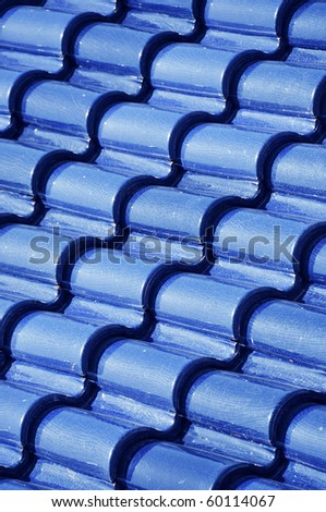 Blue tile roof - stock photo