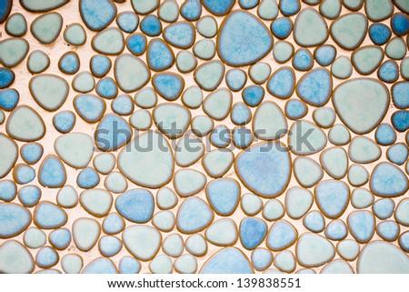blue tile wall - stock photo