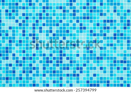 blue tiles background - bottom of a swimming pool - stock photo