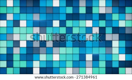 blue tiles glass mosaic. computer generated abstract background - stock photo