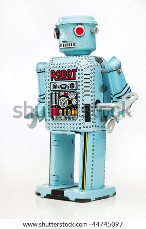 blue tin robot - stock photo