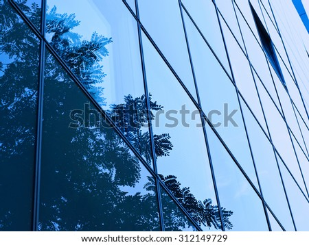 Blue tinted abstract fragment of glass and steel modern building with a tree branches reflection