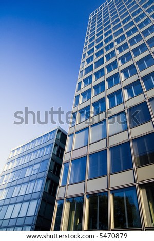 blue tinted office towers - stock photo