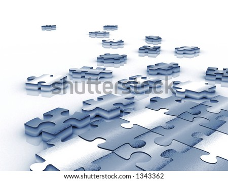 blue tinted unfinished puzzle - 3d render over white - stock photo