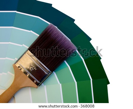 Blue to Green Paint Sampler - stock photo