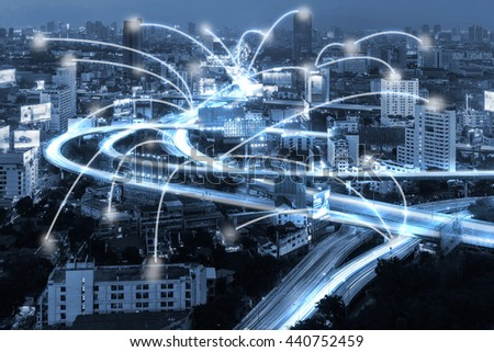 blue tone city scape and network connection concept - stock photo