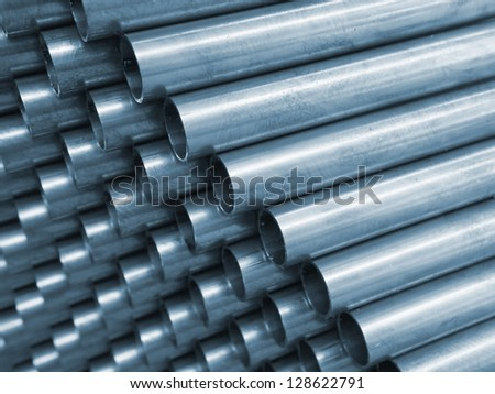 Blue Tone of Close up Steel Pipe for use in directors furniture - stock photo
