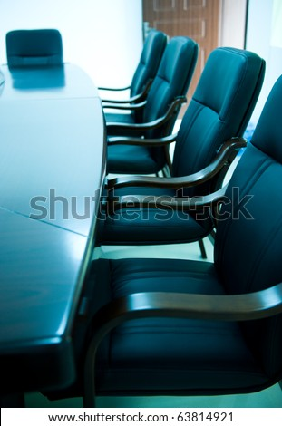 blue tone of empty boardroom or meeting room. - stock photo
