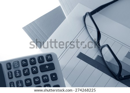 Blue Toned Business Concept - stock photo