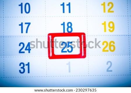 Blue toned calendar page. 25 december - stock photo