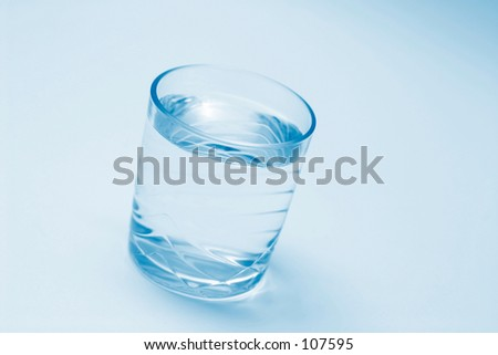 blue toned glass of water