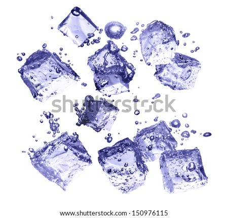 blue toned ice cubes and bubbles isolated on white background - stock photo