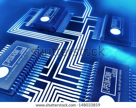 Blue toned illustration of a circuit board with processors and computer chips, referring to concepts such as electronics, product design, research and development, as well as high-technology - stock photo