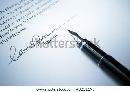 Blue Toned image of Fountain Pen with Signed Contract - stock photo
