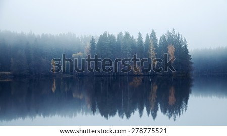 Blue toned photo. Panoramic autumnal landscape with threes on a coast, fog and still lake - stock photo