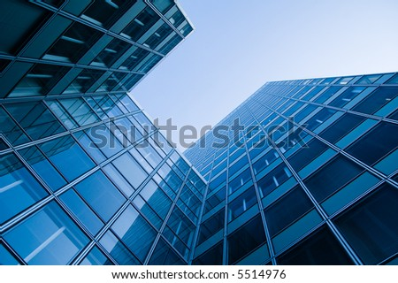 blue toned skyscraper office buildings