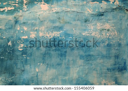 blue tones texture of shabby paint and plaster cracks - stock photo