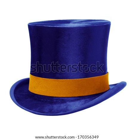 Blue top hat with gold band, isolated against white background - stock photo