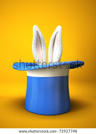 Blue top hat with rabbit ears  isolated on yellow background 3D - stock photo