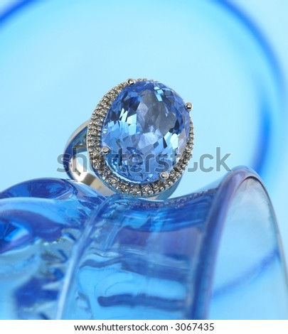 Blue Topaz and Diamond ring - stock photo