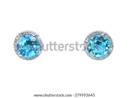 Blue topaz Gemstone and diamond earrings cushion cut with a halo setting. Genuine Fine Jewelry - stock photo