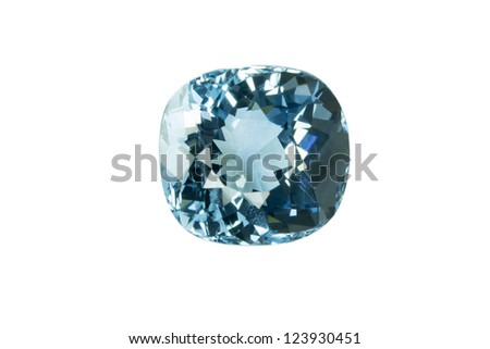 Blue topaz isolated on white background - stock photo