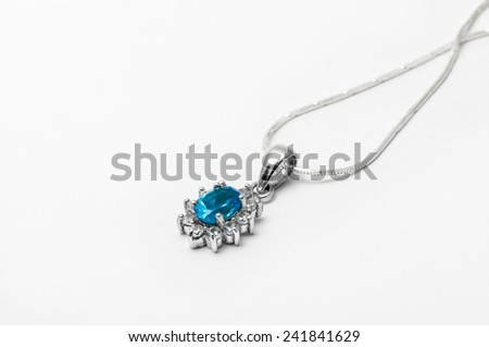 blue topaz necklace with white background  - stock photo
