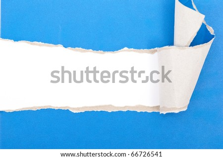 Blue torn paper - stock photo