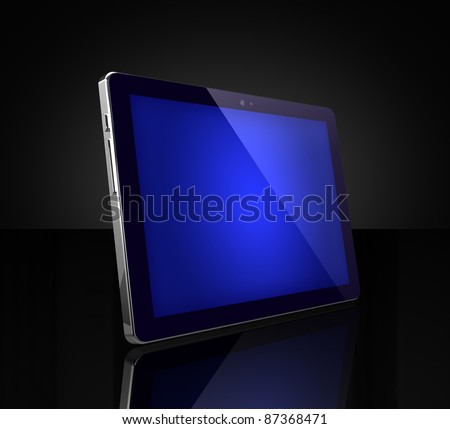 Blue touch screen digital tablet on black - stock photo