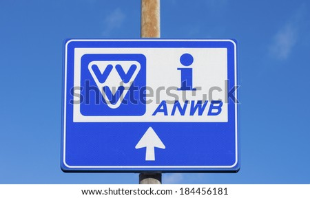 blue tourist information sign in the netherlands - stock photo