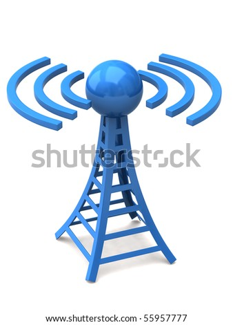 Blue tower with radio waves - stock photo