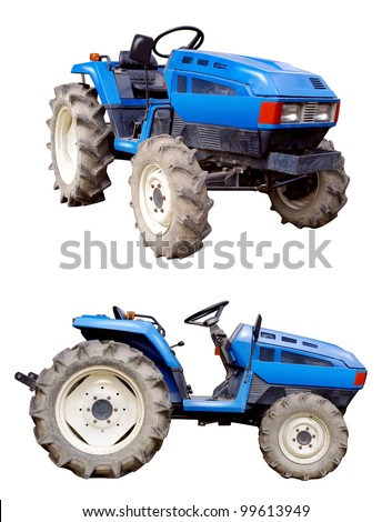 blue tractor isolated on white - stock photo