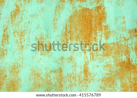 Blue trailer with peeling off paint and rusting old age. Background - stock photo