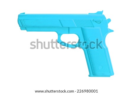 Blue training gun isolated on white, law enforcement - stock photo