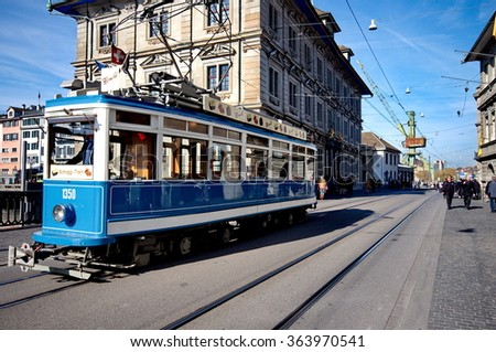 Blue tram in Zurich, Switzerland