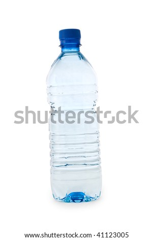 blue transparent bottle isolated on white