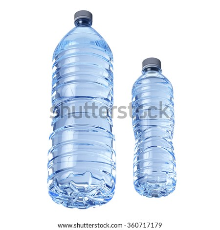 Blue transparent plastic bottles of water isolated on white background - stock photo