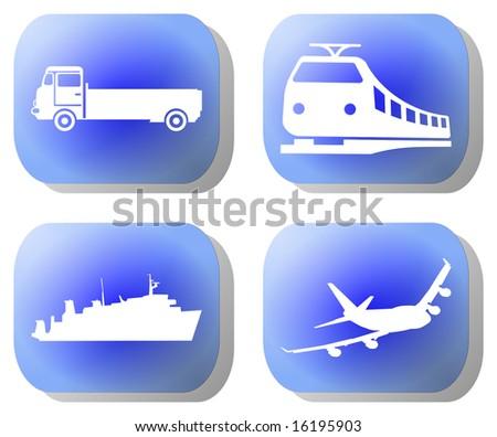 Blue transport buttons train plane ship illustration - stock photo