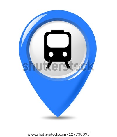 Blue transportation train marker isolated on white background. - stock photo