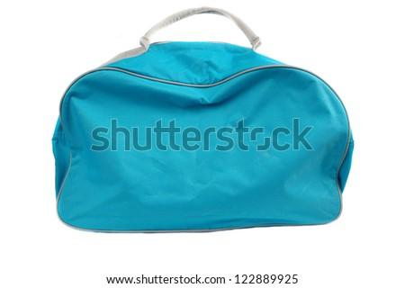 blue travel bag isolated on white background - stock photo