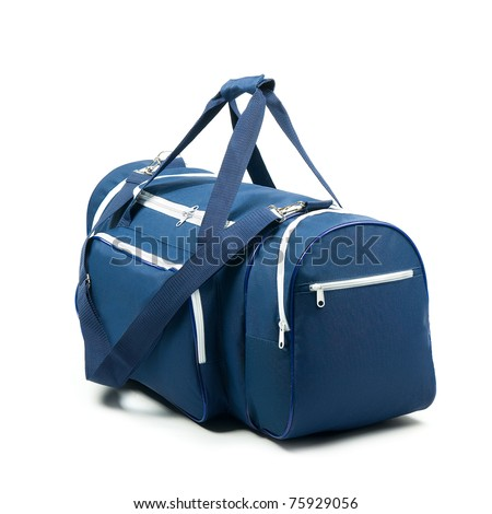 Blue travel bag on a white background - stock photo