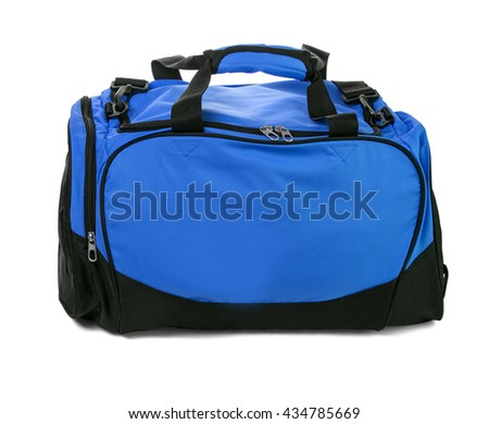 Blue travel bag on a white background isolated on white with clipping path - stock photo